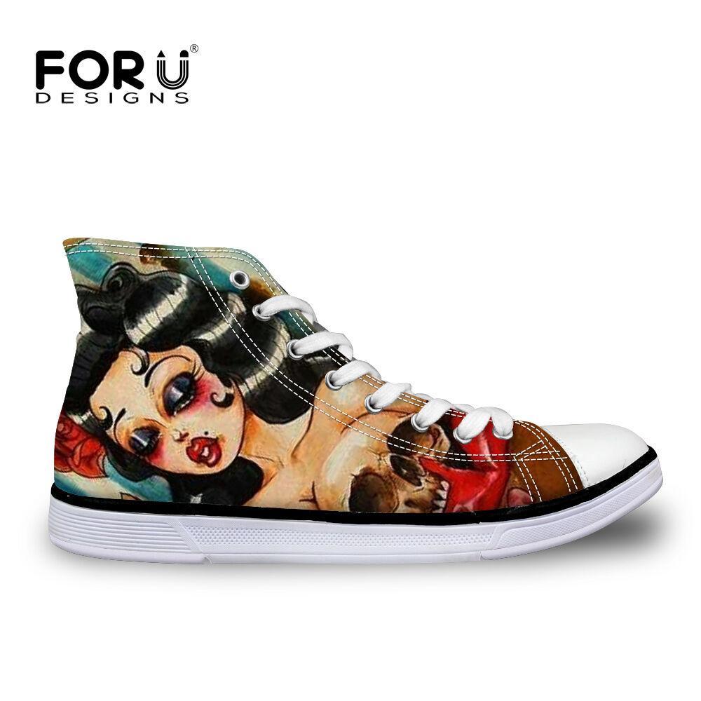 Funky Skull Ladies High Tops Casual Canvas Flat Walking Plimsolls Sneakers shoes