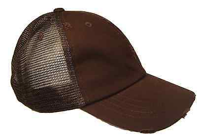 Brown Mesh Trucker Vintage Retro Weathered Distressed Torn Ripped Cap Caps Hat