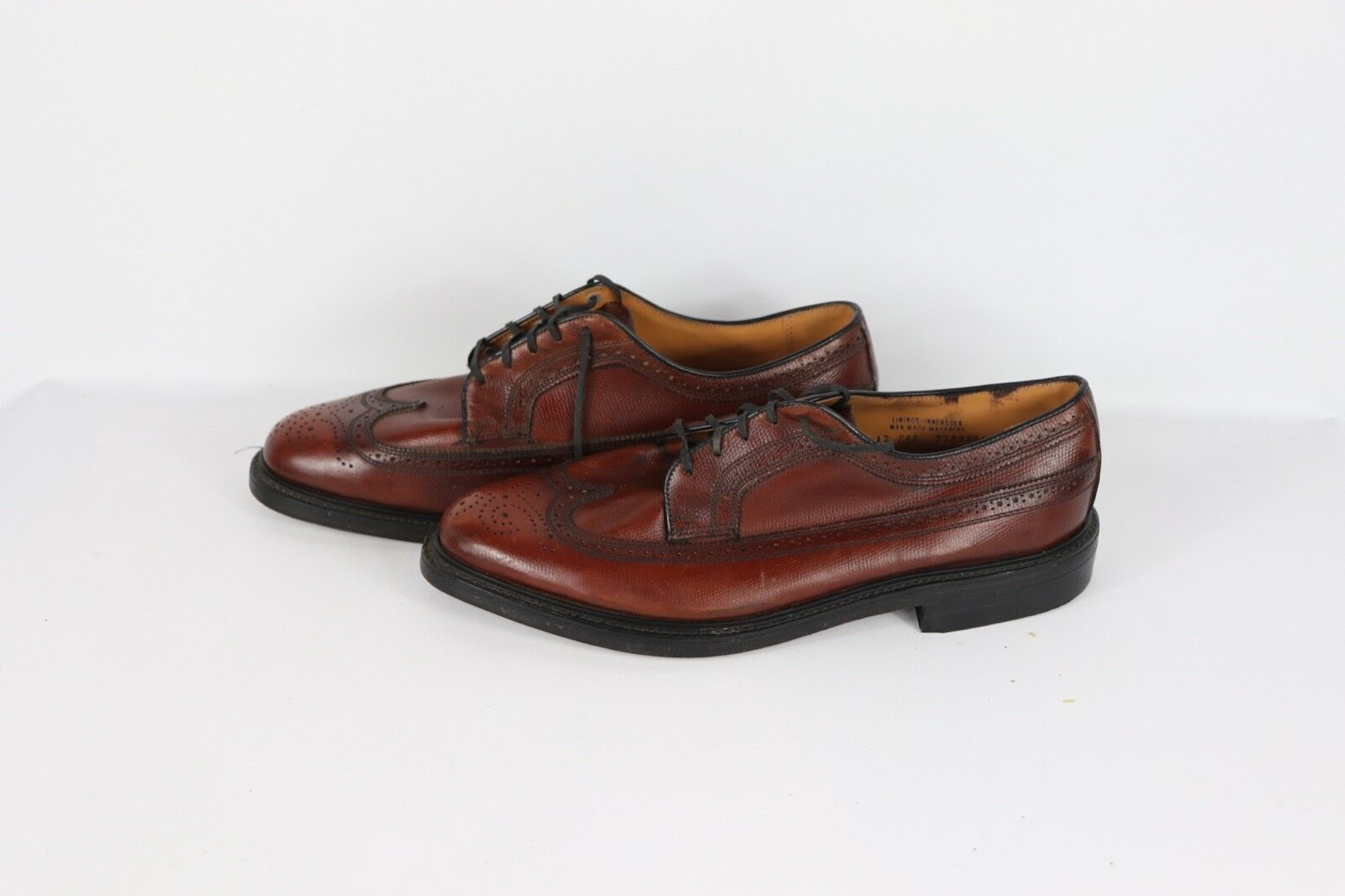 Vintage 80s JCPenney Mens Wingtip 12 EEE Pebbled Grain Leather Wingtip Mens Dress schuhe braun 5f2e54