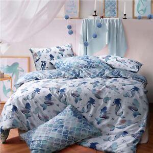 Mermaid-Queen-Bleu-Couette-Reversible-Housse-Couette-Ensemble-De-Literie-Taies-d-039-oreiller-toutes