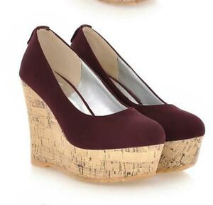 Womens-Thicken-Heels-Wedge-Summer-Pumps-Shoes-Chic-Pull-On-Suede-Loafer-Occident