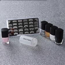 8pcs/set French Nail Art Stamping Stamp Plate Polish & Peel Off Liquid Tape Kit