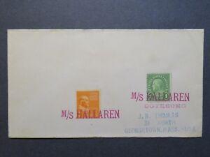 US-1940s-Paquebot-Cover-MS-Hallaren-Sweden-Cancel-Z7932