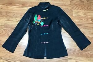 Traditional-Chinese-Style-Brocade-Long-Sleeve-Shirt-Shimmery-Black-Size-Small