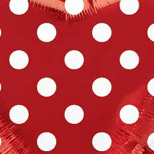 """17/"""" Heart-Shaped Foil Balloons set of TWO Red w// White Polka Dots"""