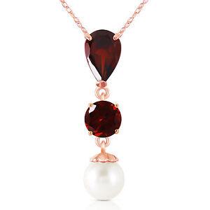 Genuine-Garnet-Gemstones-amp-Cultured-Pearl-Pendant-Necklace-set-in-14K-Solid-Gold