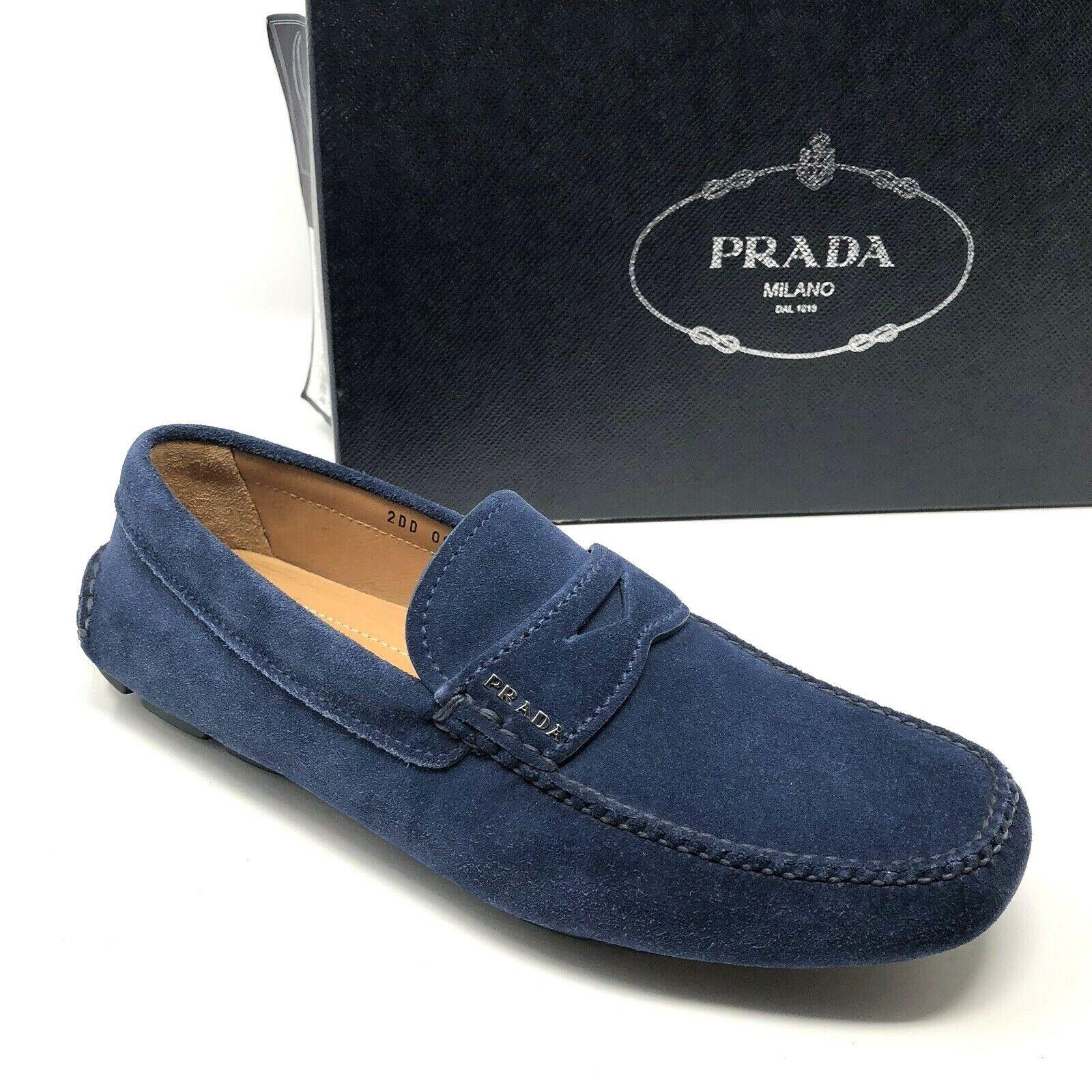 725 New PRADA Mens Suede bluee Loafers shoes Size 7.5 US 6.5 UK 40.5 EU