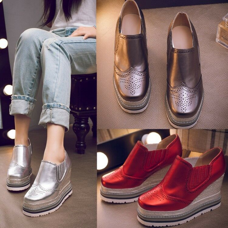 Brogue High Heel Wedge Platform New femmes Oxford Slip On Creeper Loafer chaussures