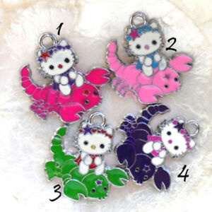 CHAT-HELLO-KITTY-20-30-MM-ZODIAQUE-SCORPION-BRELOQUE-METAL-amp-EMAIL-COLORE