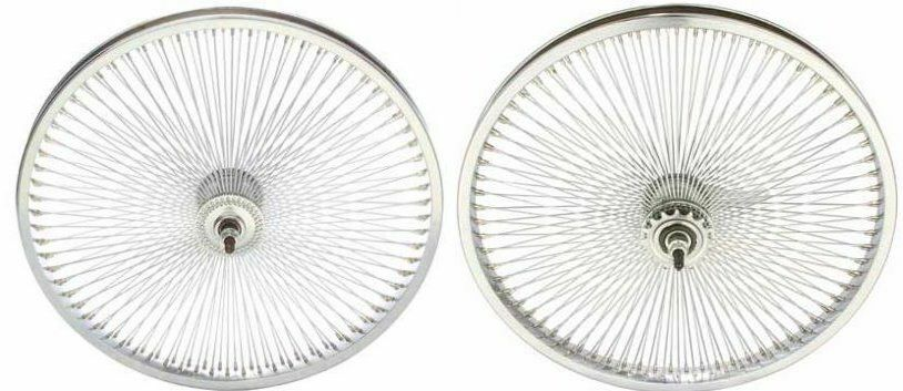 Pair of 20  Lowrider Bicycle Dayton Chrome Wheels 140 Spokes Front & Rear