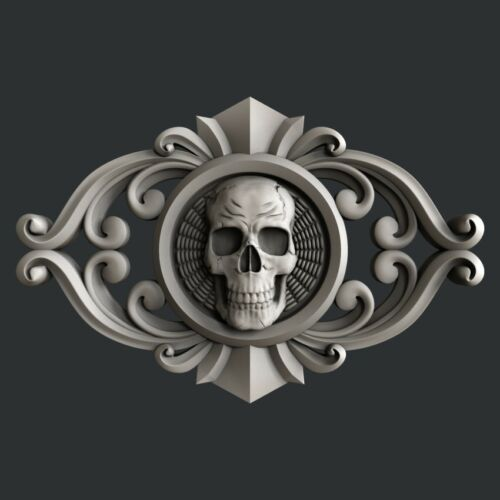 relief skull Aspire 3d STL models for CNC Artcam