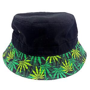 2f1b73aab445f Image is loading Marijuana-Leaf-Design-on-Brim-Black-Bucket-Hat