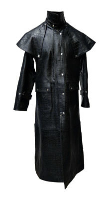 Details about Mens Black Alligator Crocodile Print Leather Duster Steampunk Trench Matrix Coat