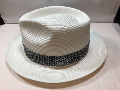 BRAND NEW DOBBS FLOYD MEN/'S STRAW HAT PINCH FRONT FEDORA MADE IN U.S.A WHITE