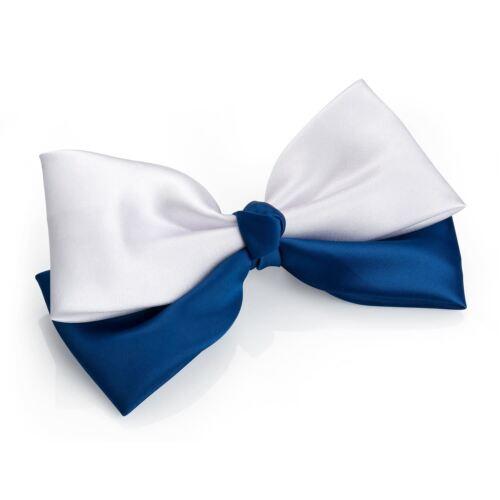 Nouveau Débardeur bicolore bleu marine et blanc Double Barrette À Cheveux Nœud pour cheveux accessoires