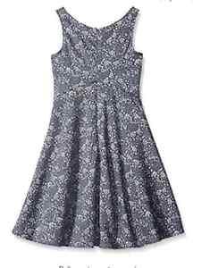 NEW-NWT-Kiddo-by-Katie-Little-Girls-Denim-Print-Dress-Light-Blue-X-Large