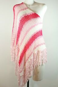 Roze poncho schouder gehaakte een damesmaat bovenhemd tuniek Bebe witte yNv8Omn0w