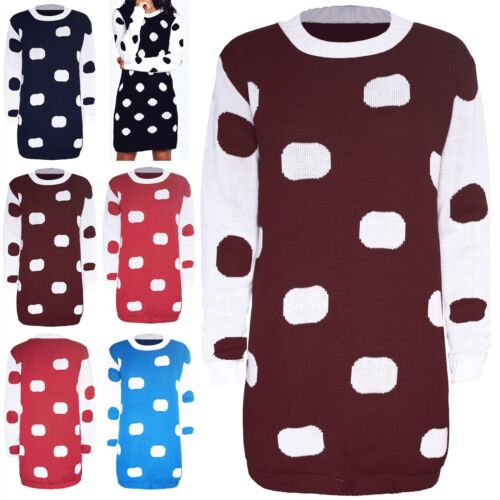 Womens Ladies Knit Polka Dot Long Contrast Manche Pince Baggy Tunic Jumper