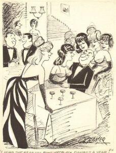 6 Babes around Rich Guy - Humorama 1967 art by Al Cramer