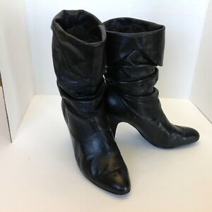 Vintage-Black-Leather-Slouch-Cowgirl-Western-Boots-Womens-Sz-7-heel