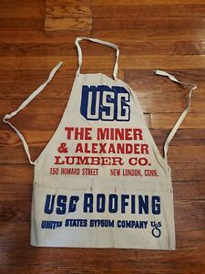 Vintage-Rare-Canvas-Pouch-Advertising-Work-Apron-Basin-Building-Materials-NWT