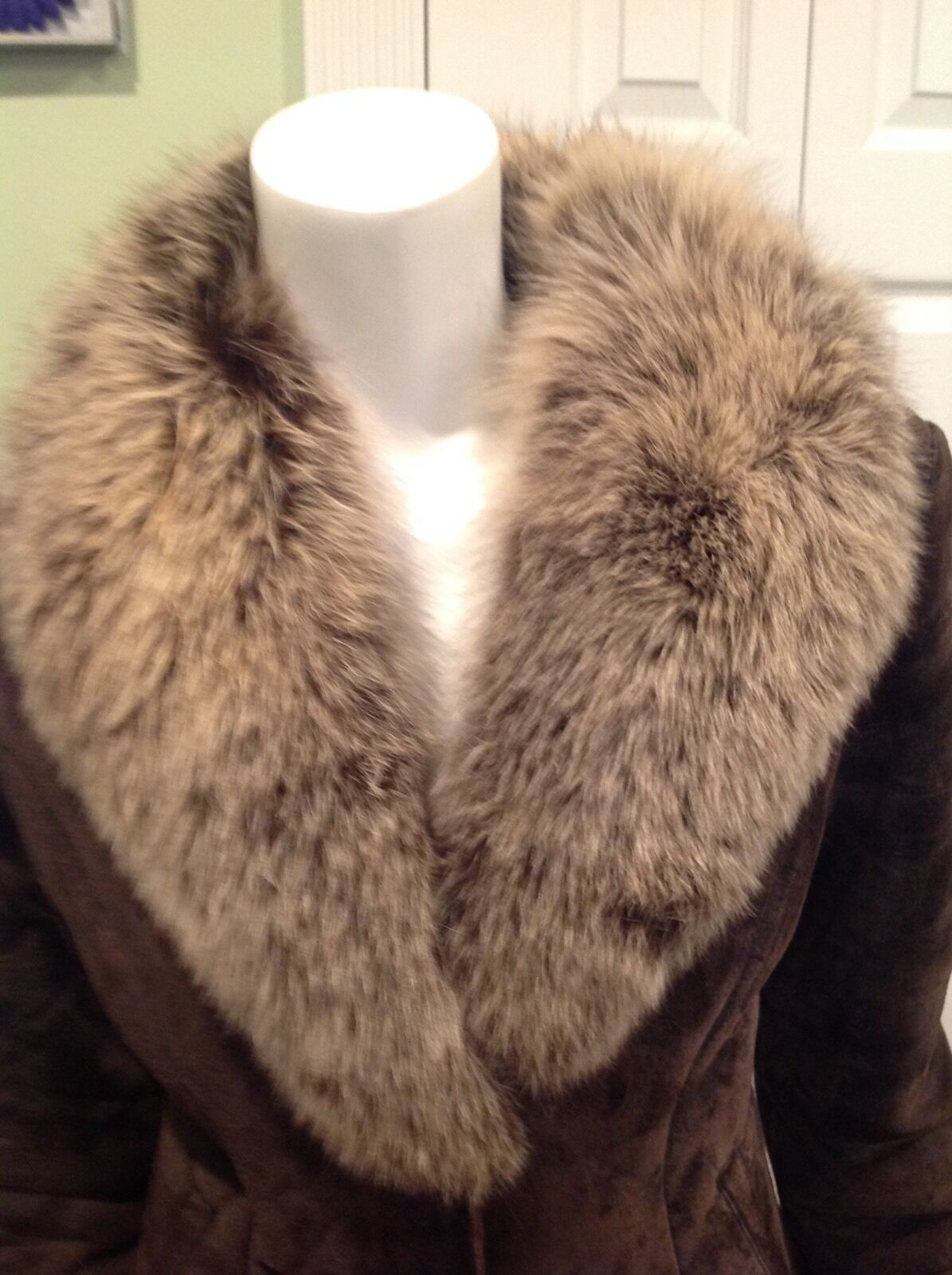 Designer Knoles & Carter Brown Suede  shearling Fur Coat j S 4-8 LAST PRICE