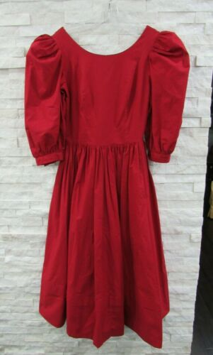 Vintage Laura Ashley 90s Red Heavy Cotton Puff Sl… - image 1