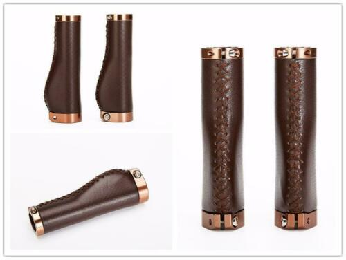 Bicycle Handle Grips Bike Retro Vintage Alloy PU Leather Lockable Cycling Parts