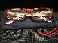 Jm York Reading Glasses +2.50 Red W/crest Spring Hinged Joy Mangano
