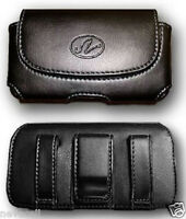 Black Leather Case Pouch Belt Holster With Clip/loop For Att Pantech Ease