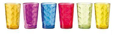 6 verres à eau colorés
