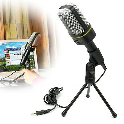 3.5mm Condenser Microphone Mic For PC Laptop Skype Singing Recording with Tripod