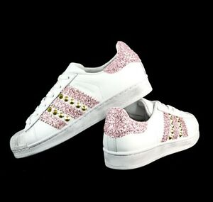 Shoes Adidas Superstar with Glitter Pink | eBay