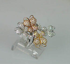 bf1c8198e 18k TRI-COLOR WHITE YELLOW ROSE GOLD DIAMOND BUTTERFLY NATURE ...