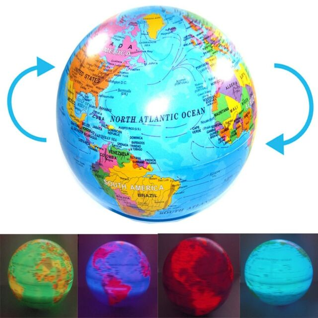 spinning magic revolving rotating led light up world earth map globe