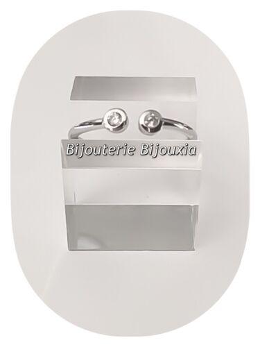 Bague Alliance Double CRISTAUX ZIRCON  Argent Massif 925//1000 Bijoux femme