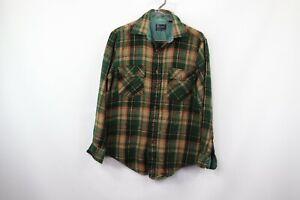 Vintage-70s-JCPenney-para-Hombre-Medio-Rockabilly-Camisa-Manga-Larga-cuadros-escoceses-Placa-Verde