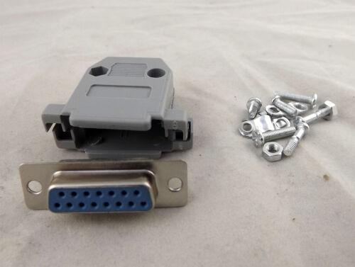 10x D-Sub DB15 Female 15 Pin 2 Rows Connector Gray Plastic Hood Cover Backshell