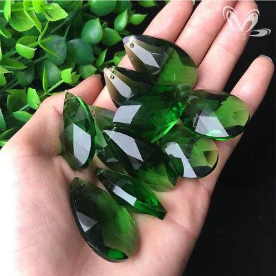 10Pc Green Faceted CRYSTAL Glass Drop Chandelier Prism Decor Pendant SUN CATCHER