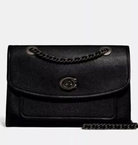 Details about ❤️ Coach Parker 75575 Black/Pewter Shoulder Bag