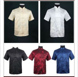 M-3XL Shirt Tops Blouse Men Chinese Style Chinese Long Sleeve Kung Fu Summer
