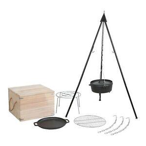Schwenkgrill-Holzkohlegrill-Dreibein-BBQ-Grill-mit-Holzbox-Grillgalgen-Schwenker