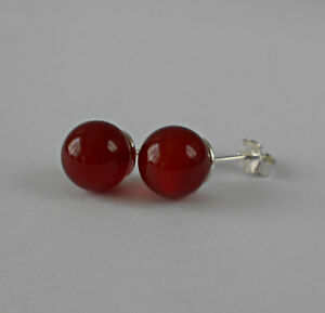 8mm-GENUINE-CARNELIAN-BEAD-BALL-925-STERLING-SILVER-EARRINGS-STUDS