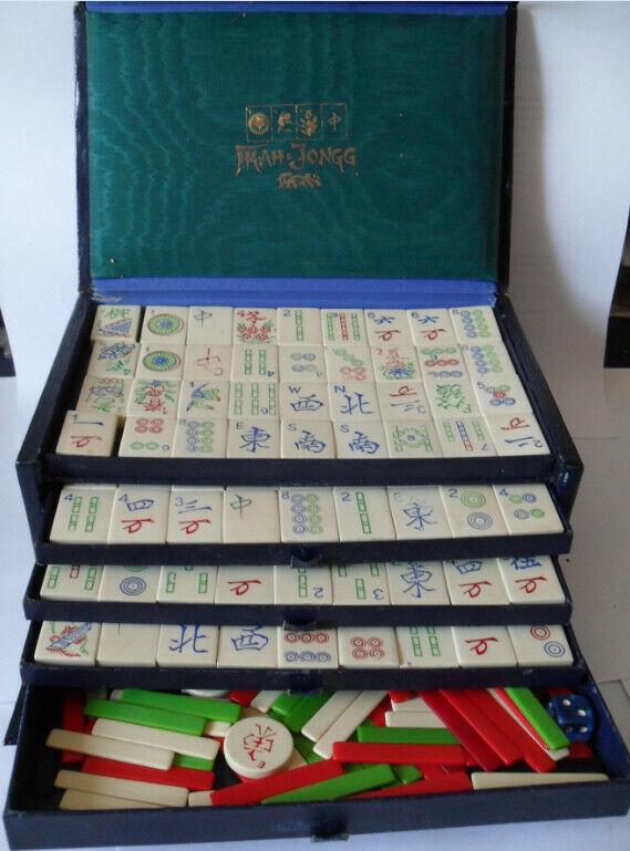 Mah- Jongg Spiel Spiel Spiel in Schatulle alt 30105c