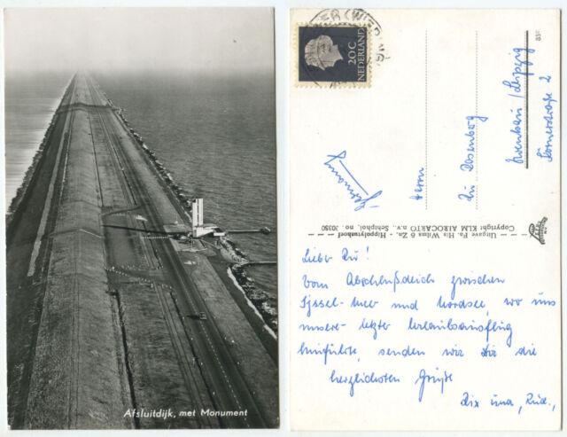38535 - Afsluitdijk, met Monument - Echtfoto - Ansichtskarte, gelaufen