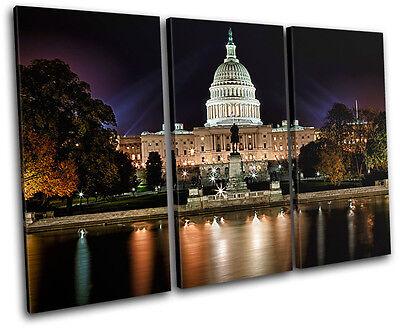 Washington DC Landmarks TREBLE CANVAS WALL ART Picture Print VA