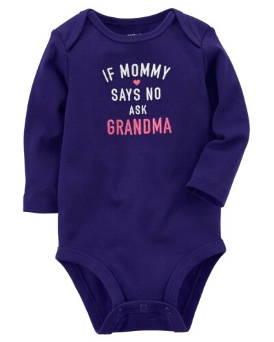 "6M Carter/'s Girl/'s Long Sleeve /""If Mommy Says No ask Grandma/"" Bodysuit; Purple"