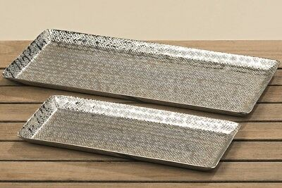 Dekotablett Dekoschale Tablett Schale Silber Metall Deko Tischdeko 28 O 37 Cm Ebay