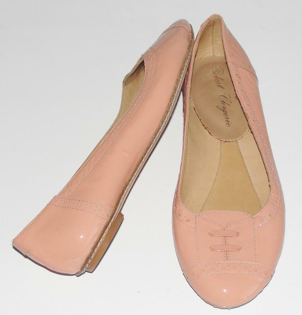 ROBER CLERGERIE~NWOB~PEACH NUDE~SMOOTH PATENT LEATHER~BALLET FLAT SCARPE~6