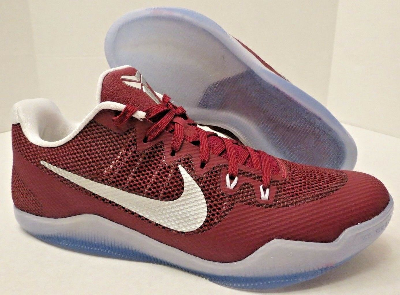 NIKE KOBE XI LOW BASKETBALL SHOES 856485 662 DK RED-ICY WHITE (MENS 13.5) NO BOX